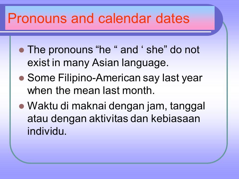 Pronouns and calendar dates