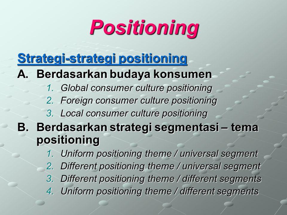 Positioning Strategi-strategi positioning Berdasarkan budaya konsumen