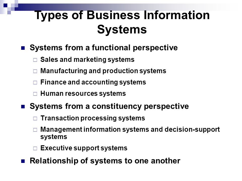 Types of Business Information Systems