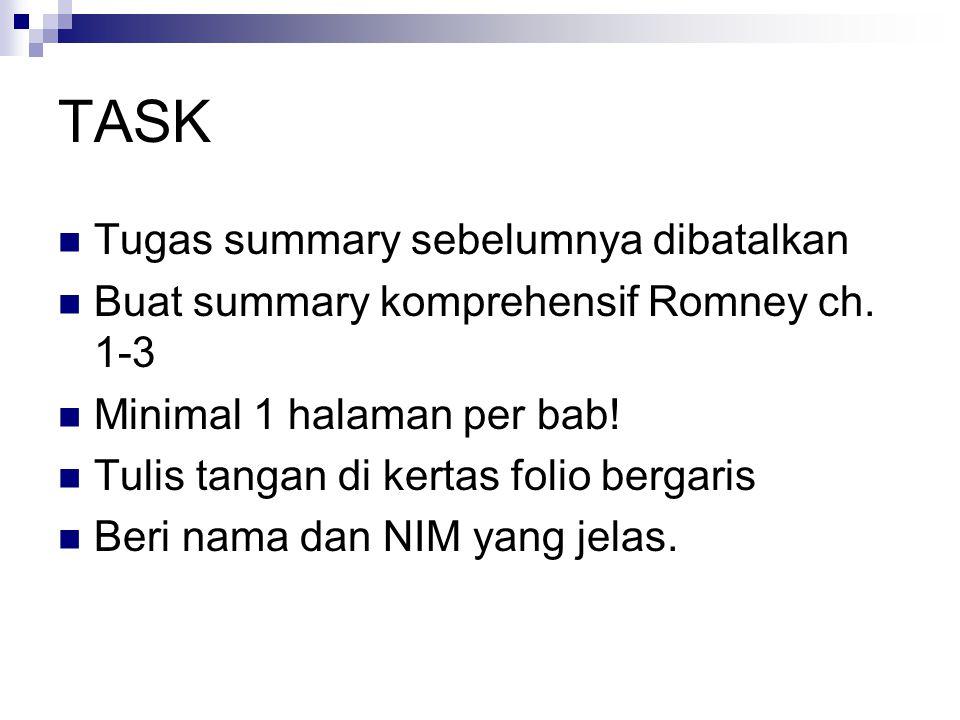 TASK Tugas summary sebelumnya dibatalkan