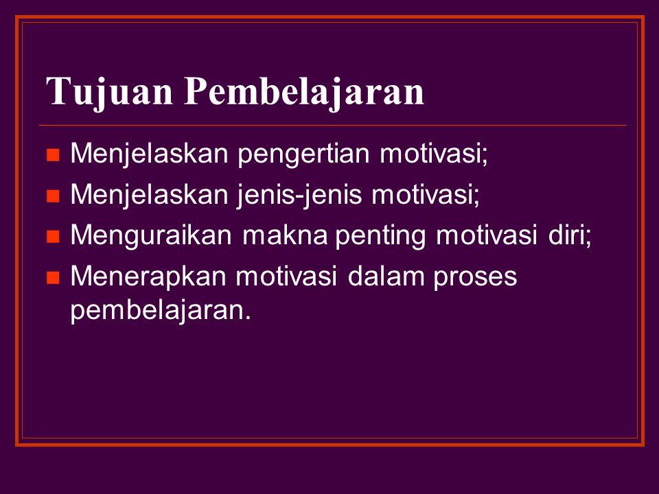 Tujuan Pembelajaran Menjelaskan pengertian motivasi;