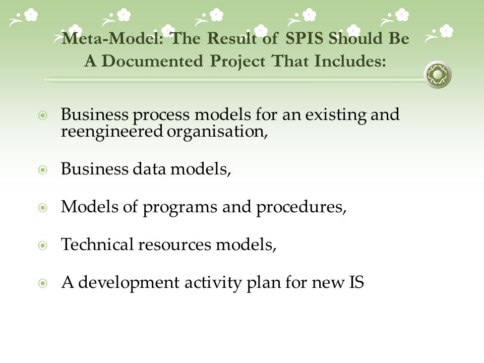 Meta-Model: The Result of SPIS Should Be A Documented Project That Includes: