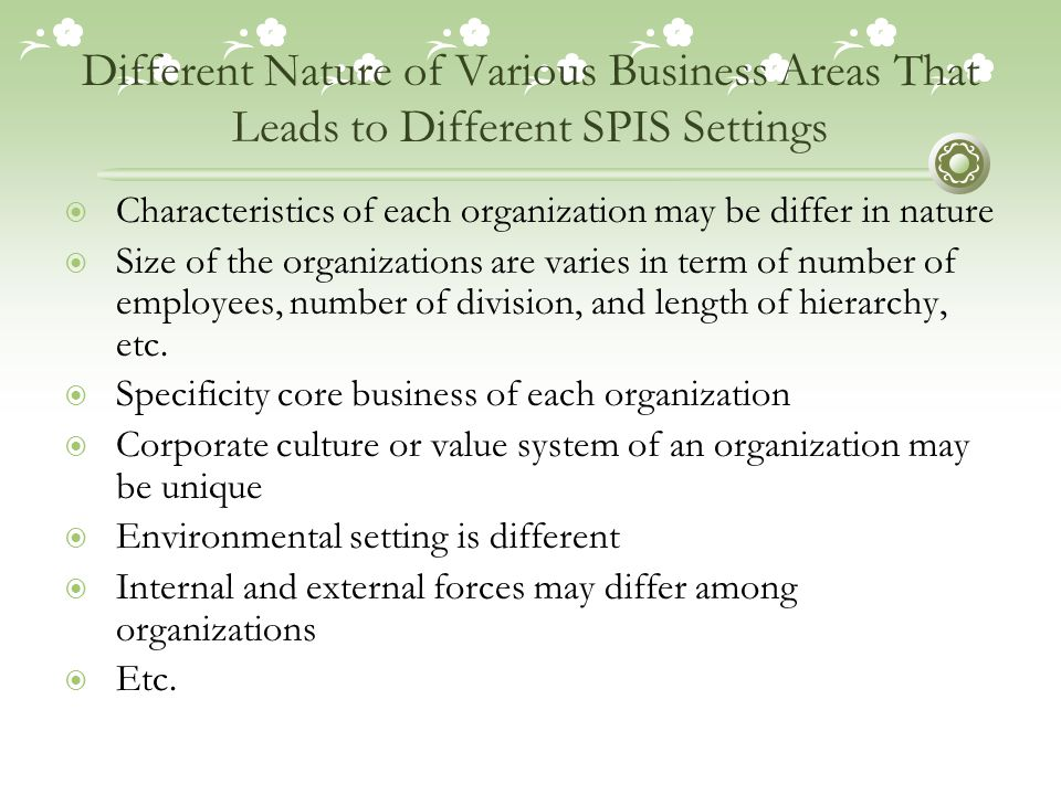 Different Nature of Various Business Areas That Leads to Different SPIS Settings