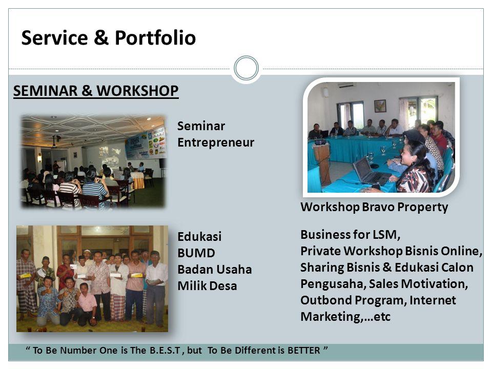 Service & Portfolio SEMINAR & WORKSHOP Seminar Entrepreneur