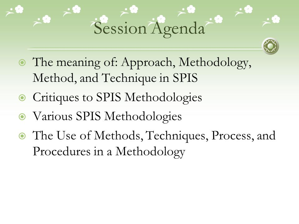 Session Agenda The meaning of: Approach, Methodology, Method, and Technique in SPIS. Critiques to SPIS Methodologies.