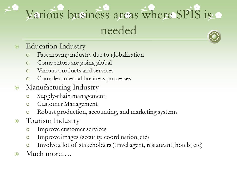 Various business areas where SPIS is needed