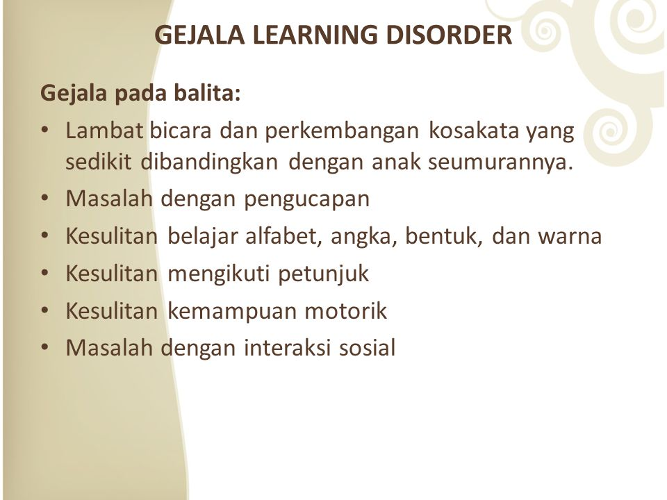 GEJALA LEARNING DISORDER