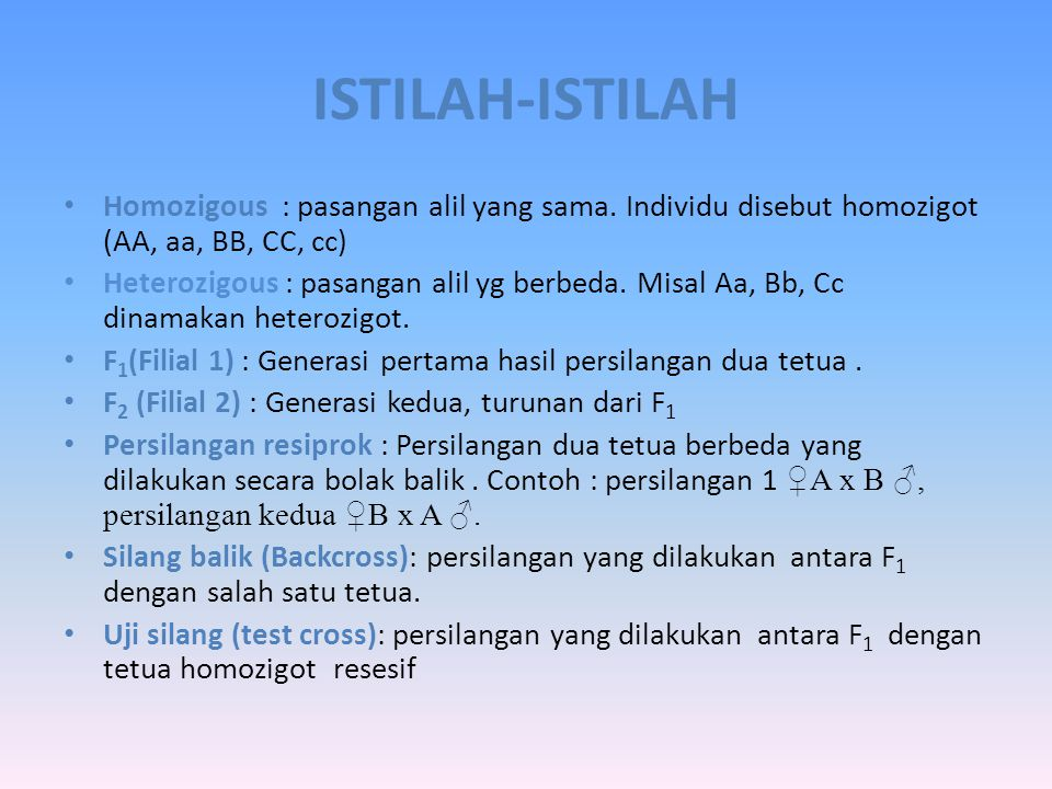 ISTILAH-ISTILAH Homozigous : pasangan alil yang sama. Individu disebut homozigot (AA, aa, BB, CC, cc)