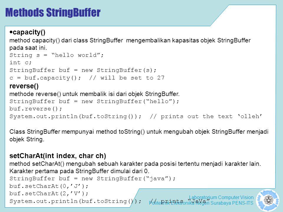 Methods StringBuffer capacity() reverse()