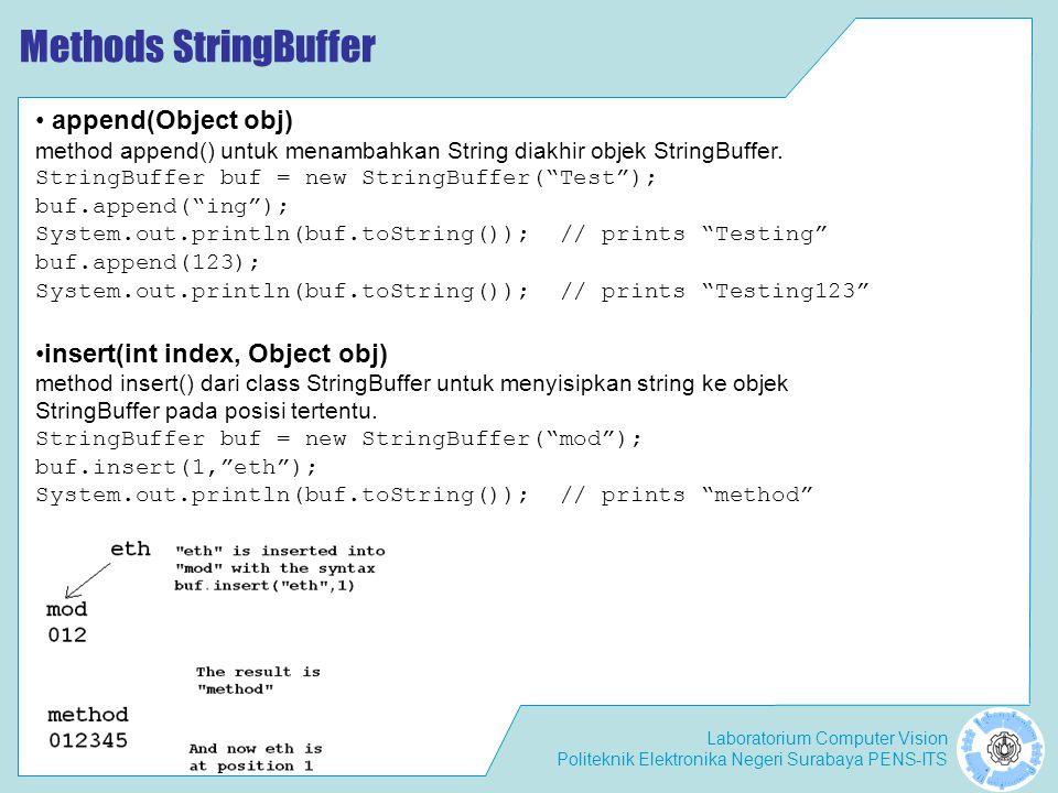 Methods StringBuffer append(Object obj) insert(int index, Object obj)
