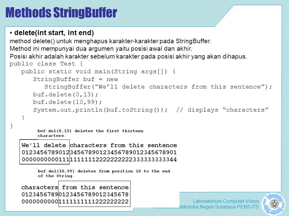 Methods StringBuffer delete(int start, int end)