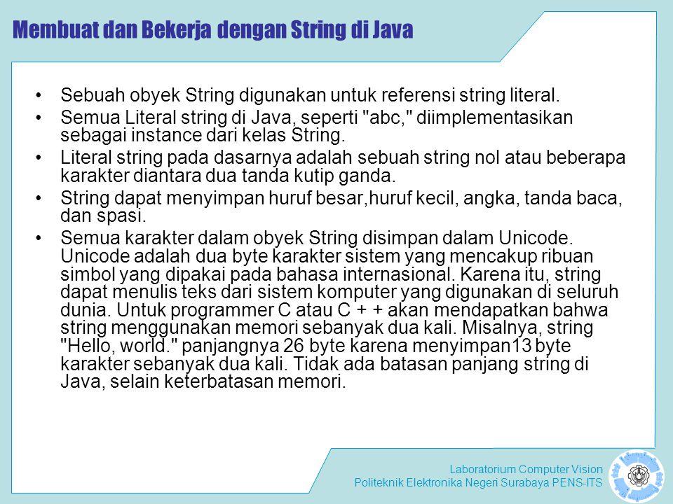 Membuat dan Bekerja dengan String di Java
