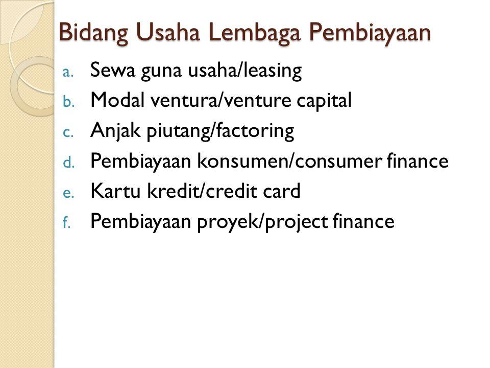Bidang Usaha Lembaga Pembiayaan