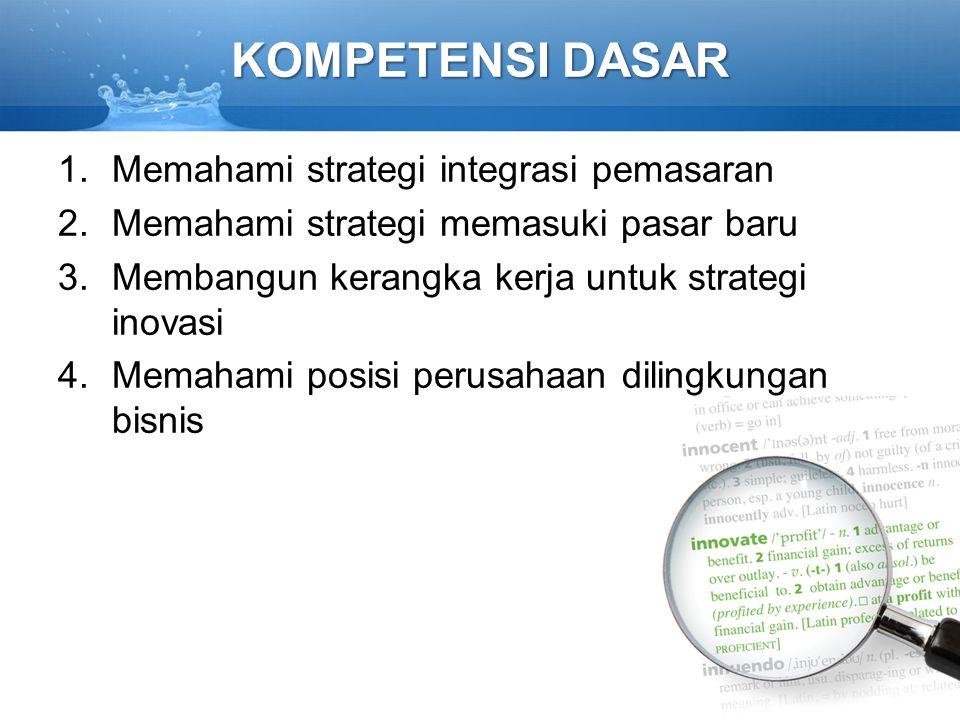 KOMPETENSI DASAR Memahami strategi integrasi pemasaran