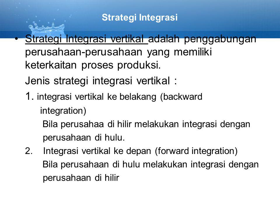 Jenis strategi integrasi vertikal :