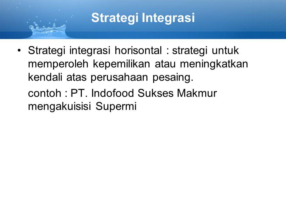 Strategi Integrasi Strategi integrasi horisontal : strategi untuk memperoleh kepemilikan atau meningkatkan kendali atas perusahaan pesaing.