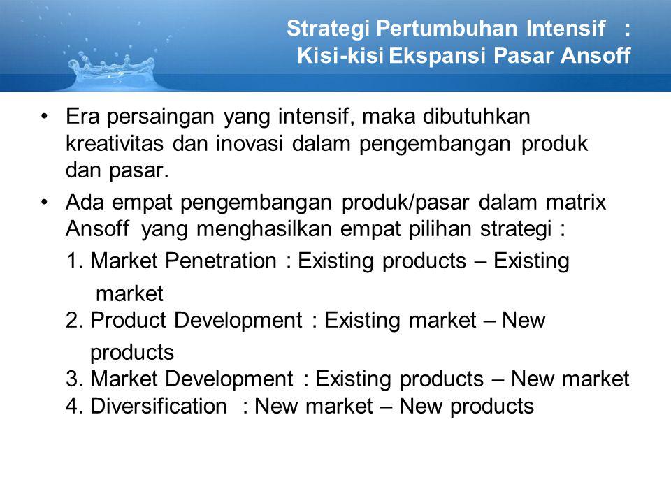 Strategi Pertumbuhan Intensif : Kisi-kisi Ekspansi Pasar Ansoff