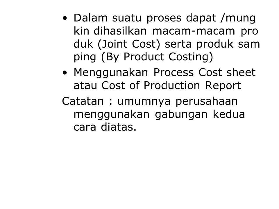 Dalam suatu proses dapat /mung kin dihasilkan macam-macam pro duk (Joint Cost) serta produk sam ping (By Product Costing)
