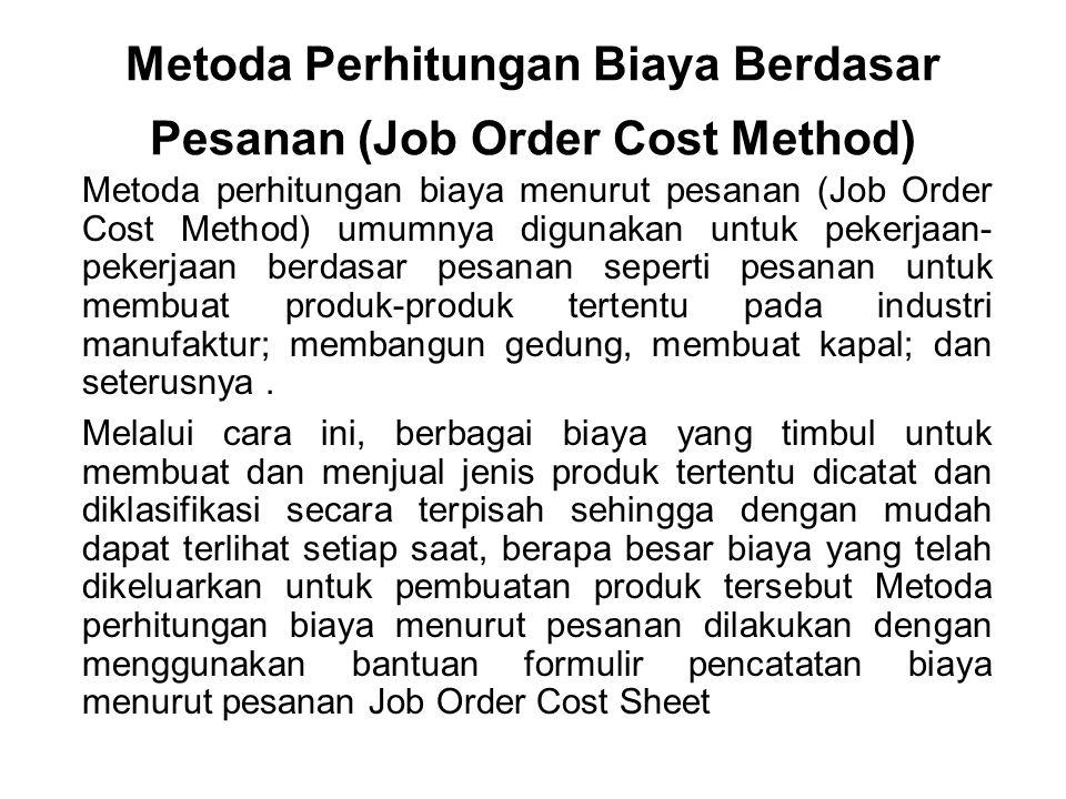Metoda Perhitungan Biaya Berdasar Pesanan (Job Order Cost Method)