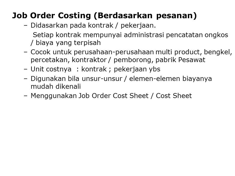 Job Order Costing (Berdasarkan pesanan)