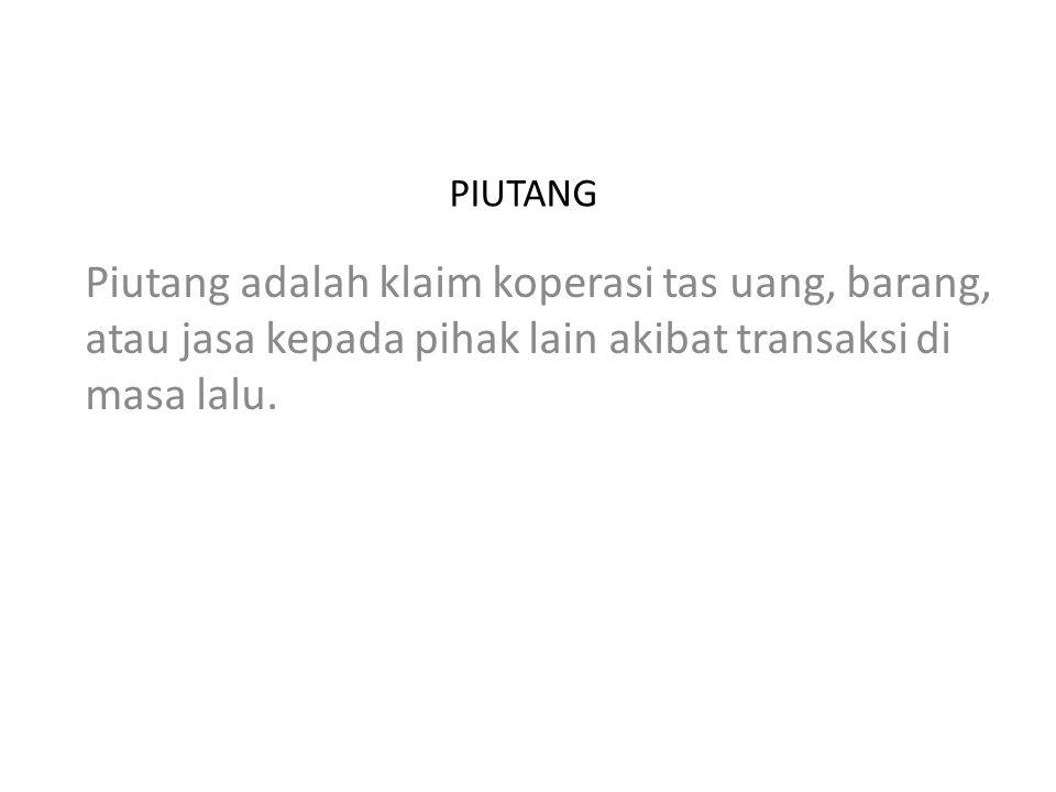 PIUTANG Piutang adalah klaim koperasi tas uang, barang, atau jasa kepada pihak lain akibat transaksi di masa lalu.