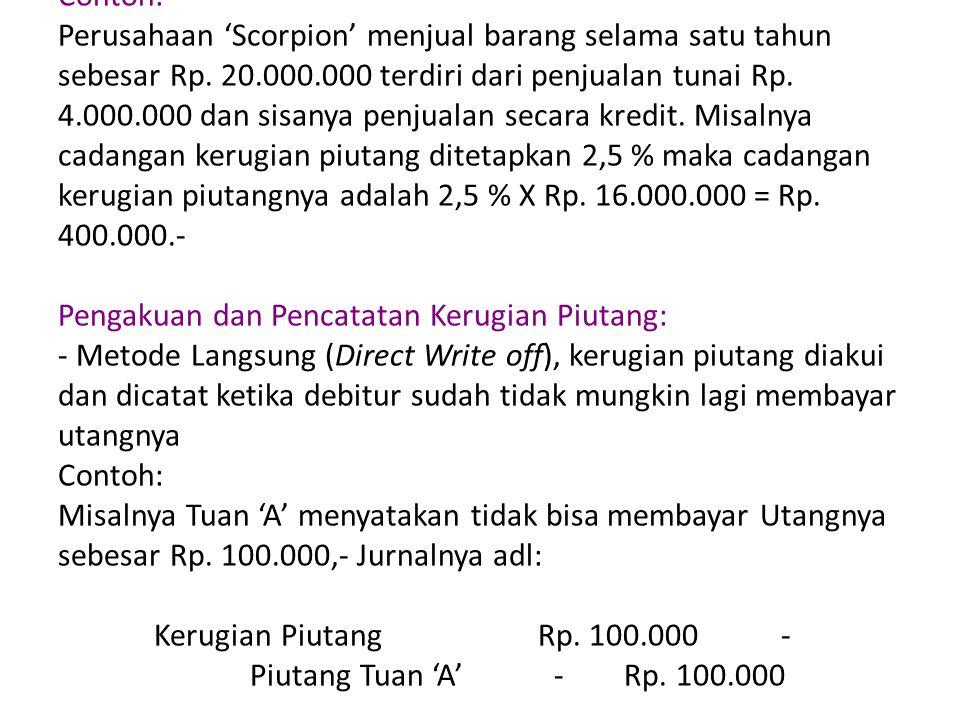Contoh: Perusahaan 'Scorpion' menjual barang selama satu tahun sebesar Rp.