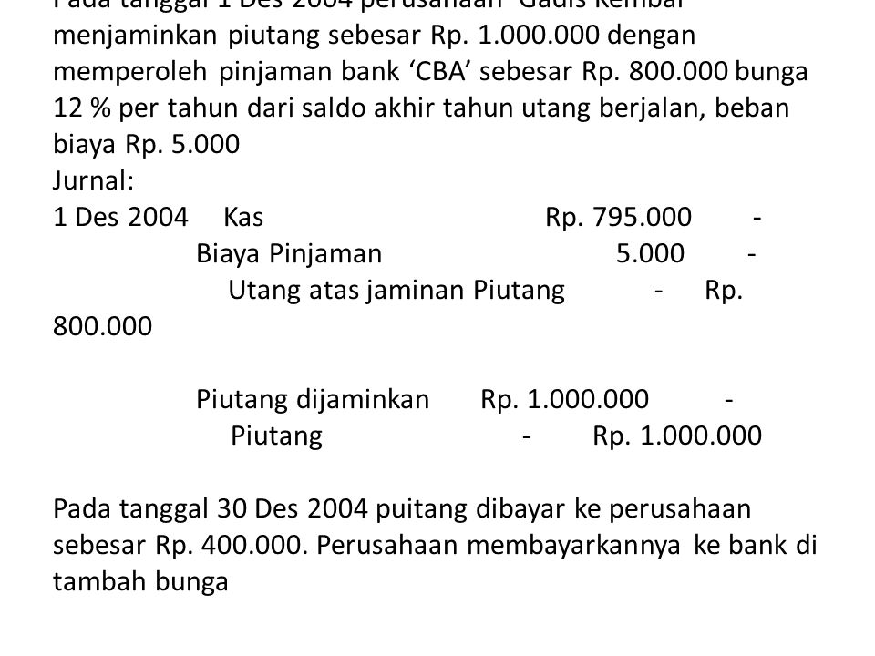 Contoh: Pada tanggal 1 Des 2004 perusahaan 'Gadis Kembar' menjaminkan piutang sebesar Rp.