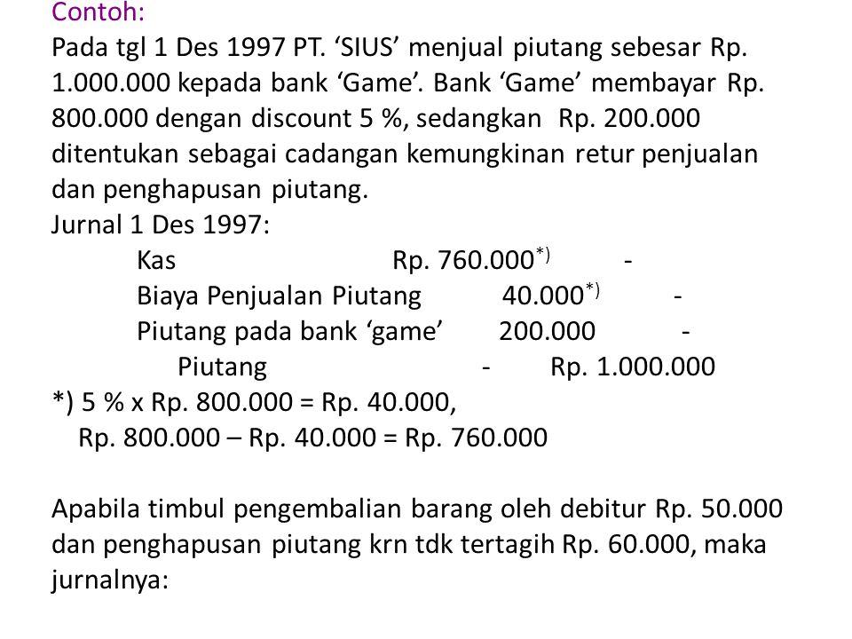 Contoh: Pada tgl 1 Des 1997 PT. 'SIUS' menjual piutang sebesar Rp. 1