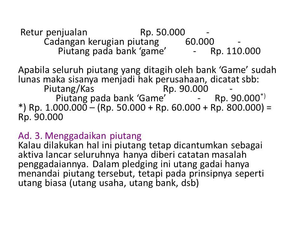 Retur penjualan Rp. 50. 000 - Cadangan kerugian piutang 60