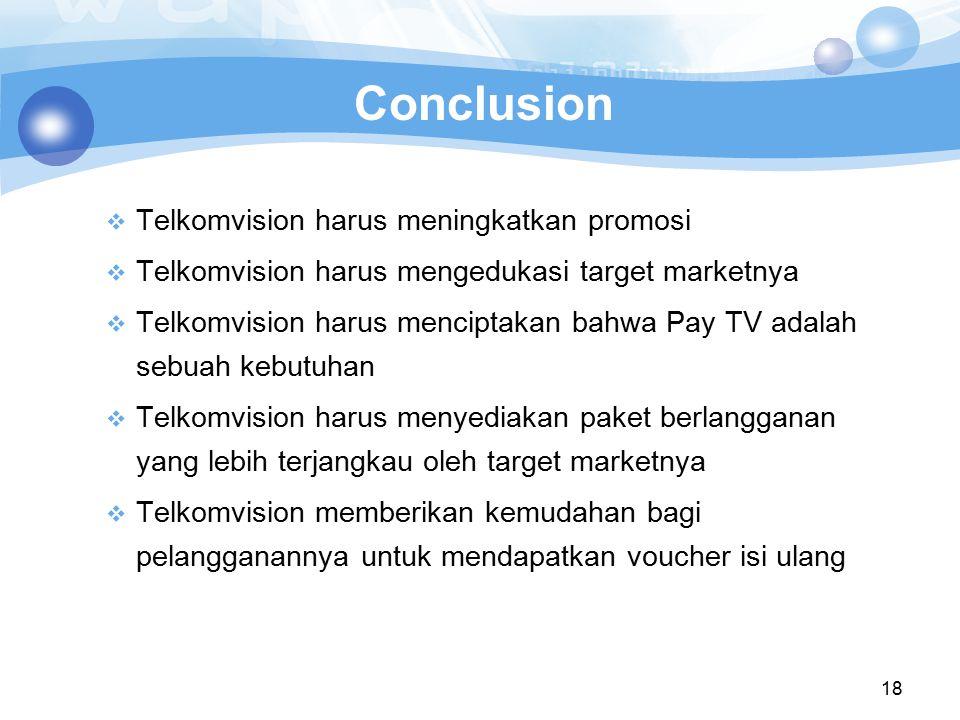 Conclusion Telkomvision harus meningkatkan promosi