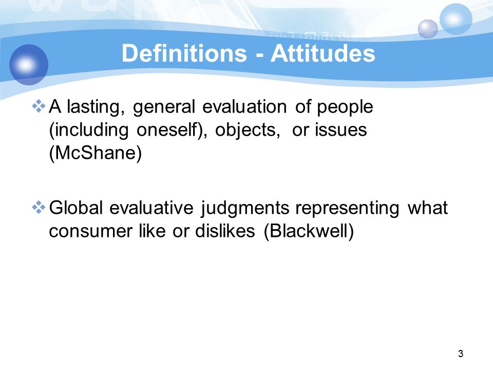 Definitions - Attitudes