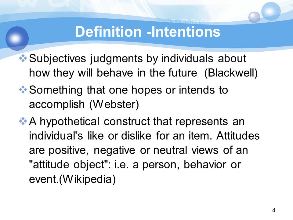 Definition -Intentions