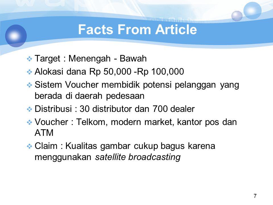 Facts From Article Target : Menengah - Bawah