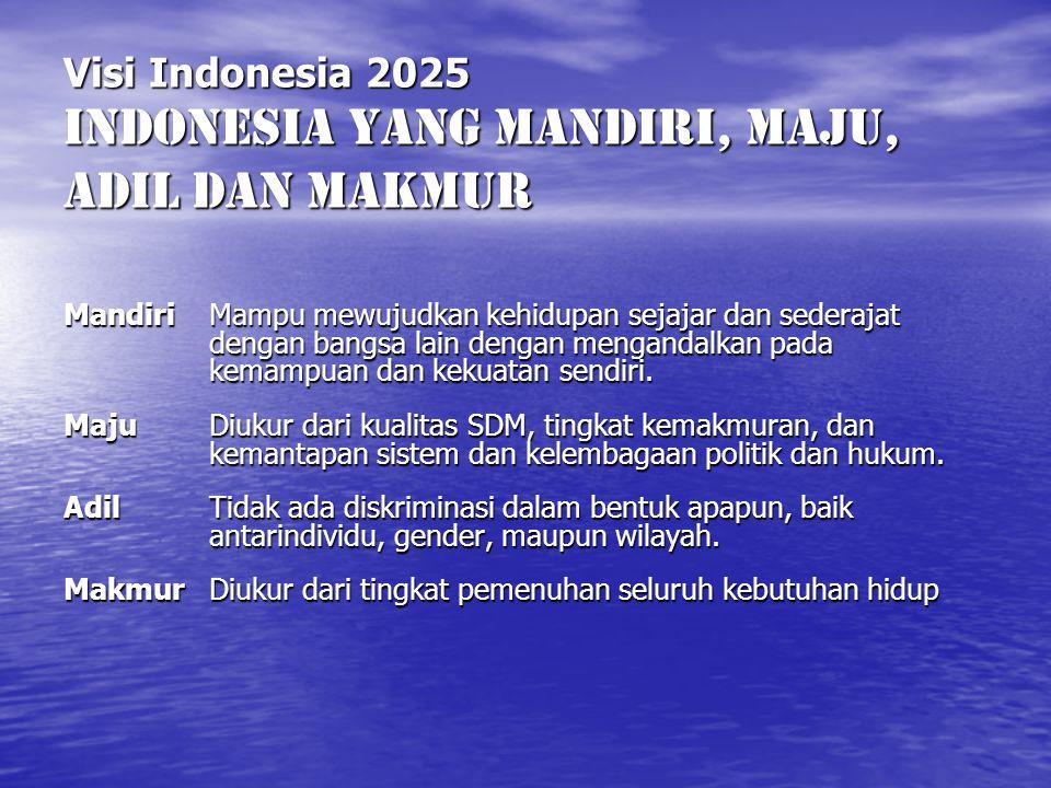 Visi Indonesia 2025 INDONESIA YANG MANDIRI, MAJU, ADIL DAN MAKMUR