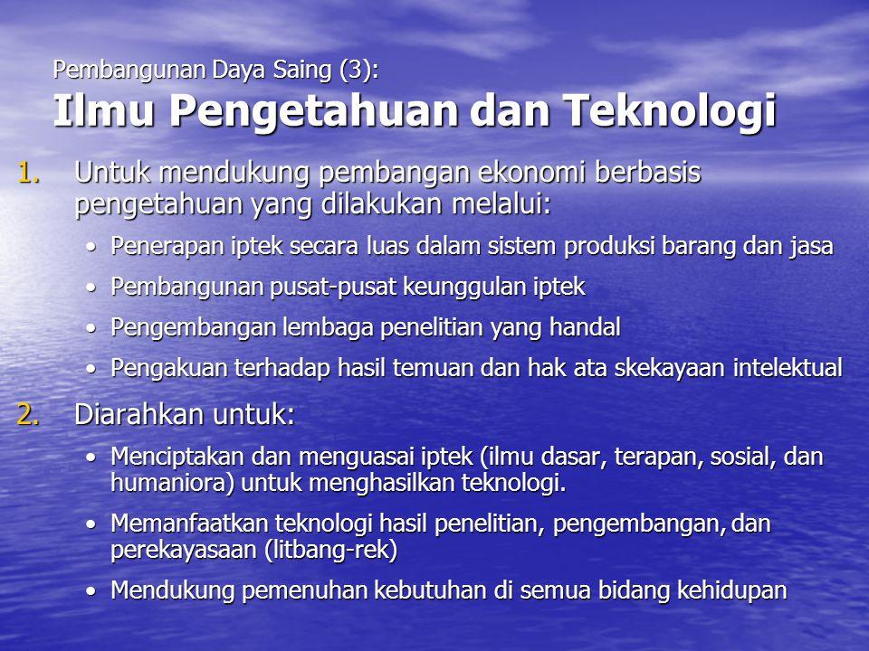 Pembangunan Daya Saing (3): Ilmu Pengetahuan dan Teknologi