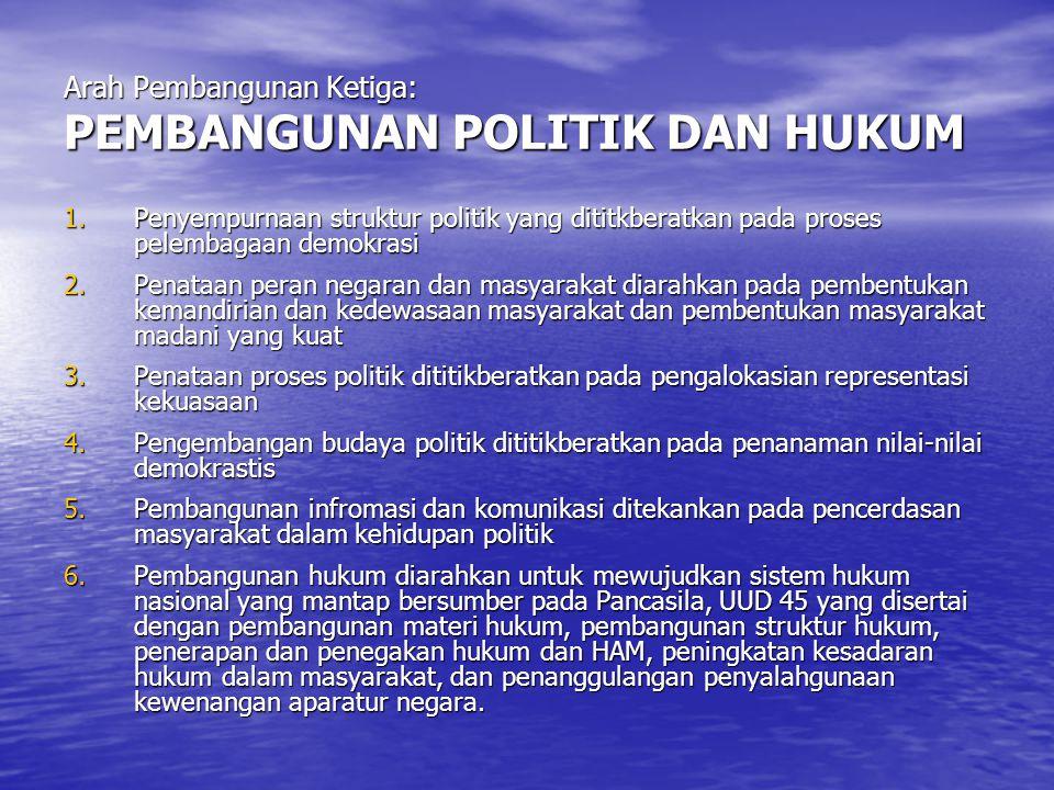 Arah Pembangunan Ketiga: PEMBANGUNAN POLITIK DAN HUKUM