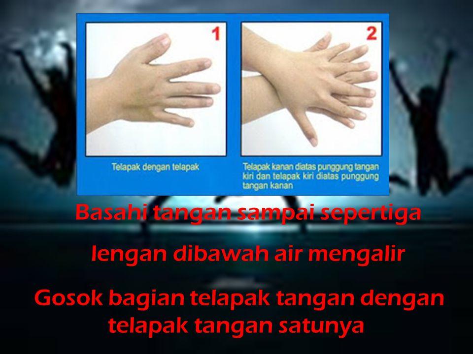Basahi tangan sampai sepertiga lengan dibawah air mengalir