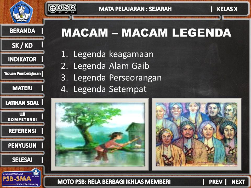 MACAM – MACAM LEGENDA Legenda keagamaan Legenda Alam Gaib