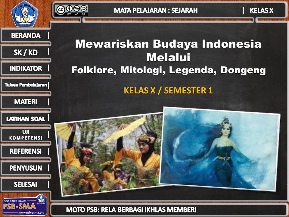 Mewariskan Budaya Indonesia Folklore, Mitologi, Legenda, Dongeng