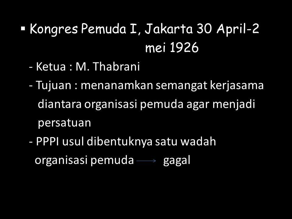 Kongres Pemuda I, Jakarta 30 April-2