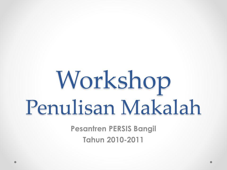 Workshop Penulisan Makalah