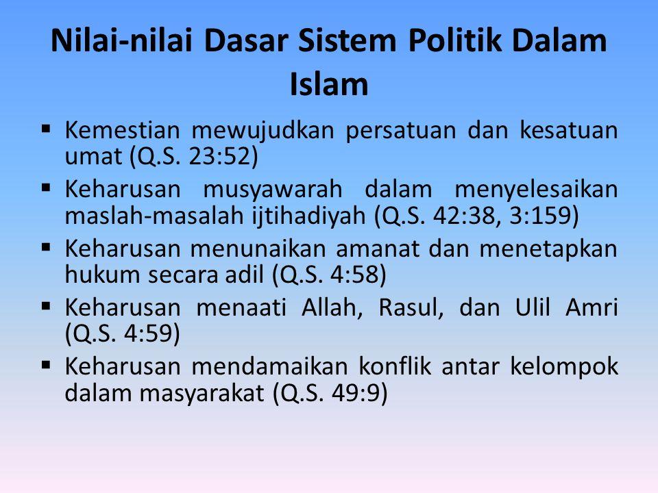 Nilai-nilai Dasar Sistem Politik Dalam Islam