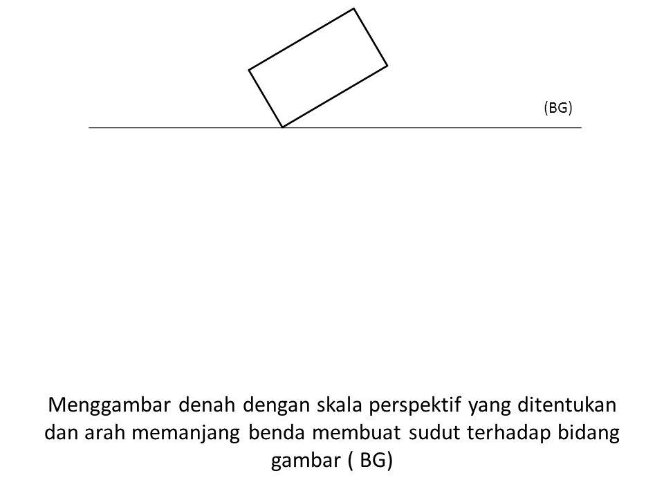 (BG) Menggambar denah dengan skala perspektif yang ditentukan dan arah memanjang benda membuat sudut terhadap bidang gambar ( BG)