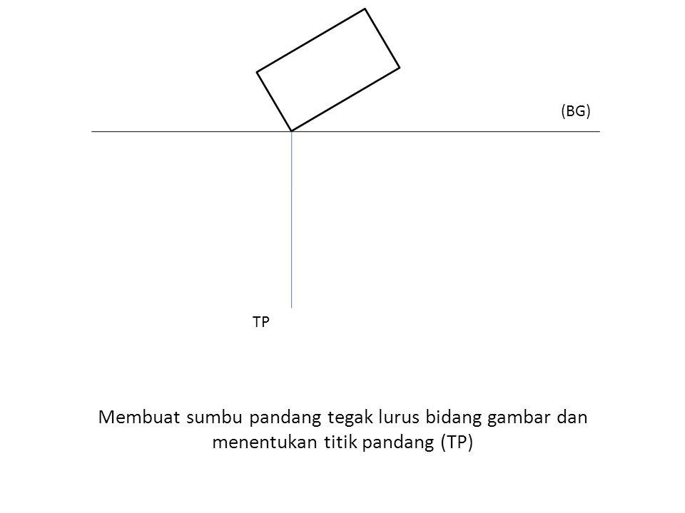 (BG) TP Membuat sumbu pandang tegak lurus bidang gambar dan menentukan titik pandang (TP)