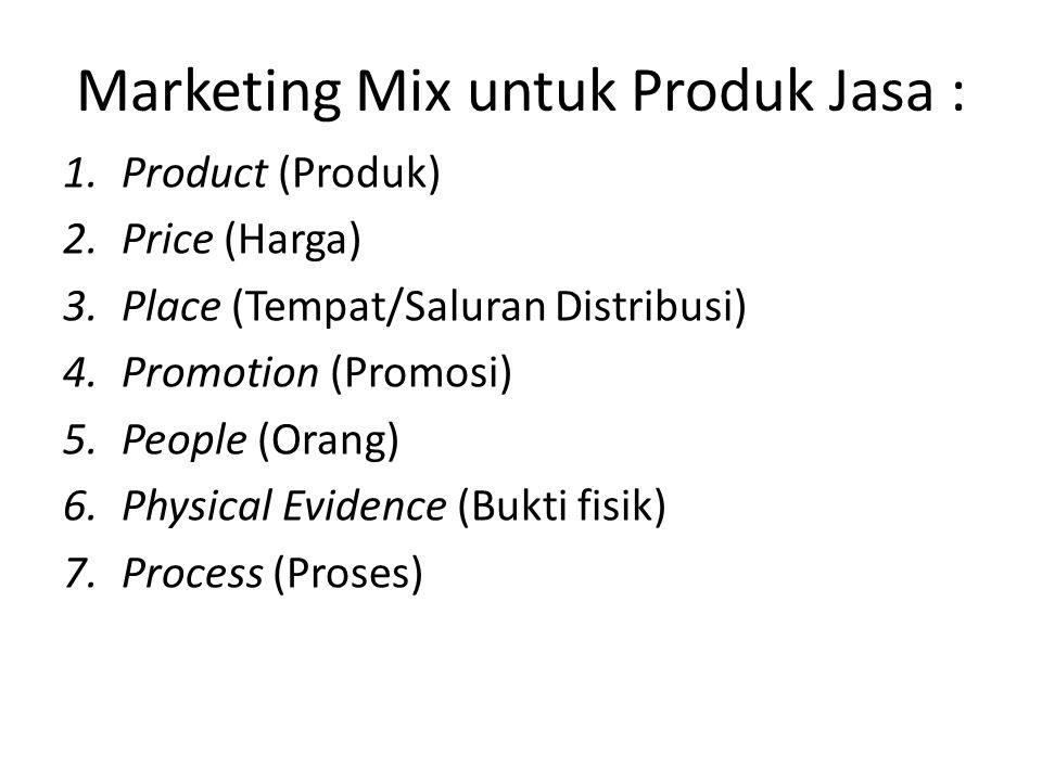 Marketing Mix untuk Produk Jasa :