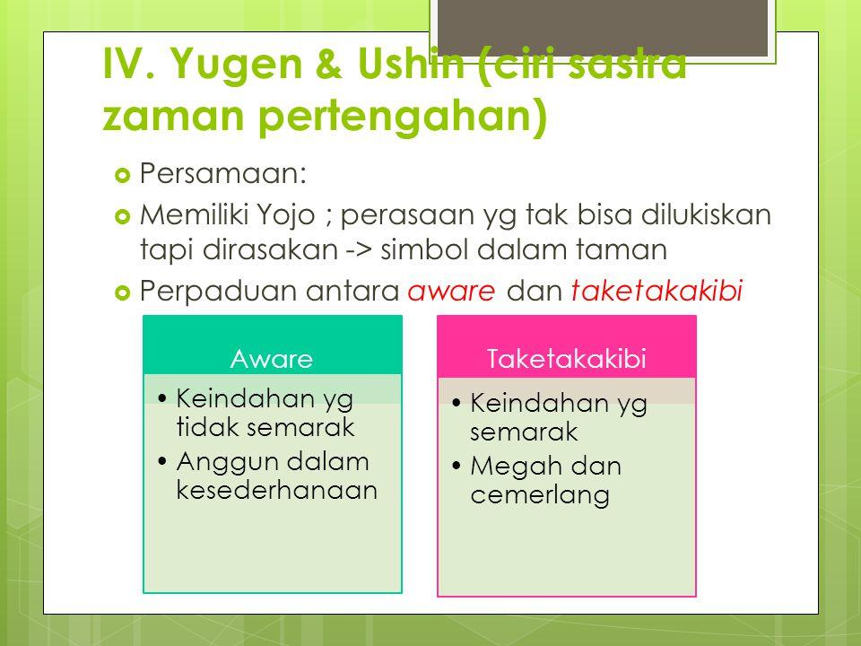 IV. Yugen & Ushin (ciri sastra zaman pertengahan)