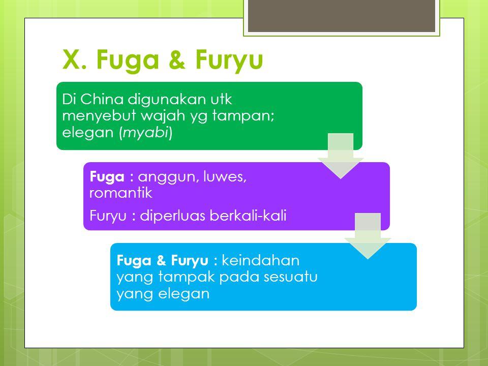 X. Fuga & Furyu Di China digunakan utk menyebut wajah yg tampan; elegan (myabi) Furyu : diperluas berkali-kali.