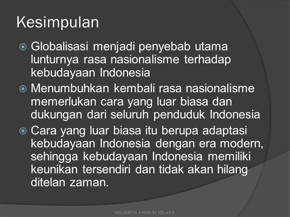 Kesimpulan Globalisasi menjadi penyebab utama lunturnya rasa nasionalisme terhadap kebudayaan Indonesia.