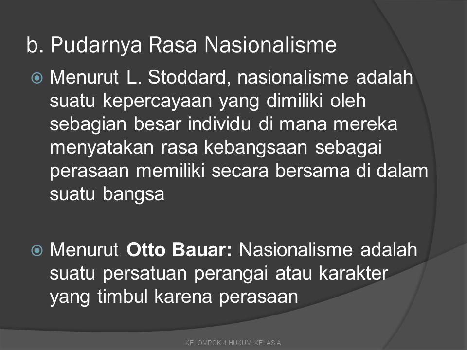 b. Pudarnya Rasa Nasionalisme
