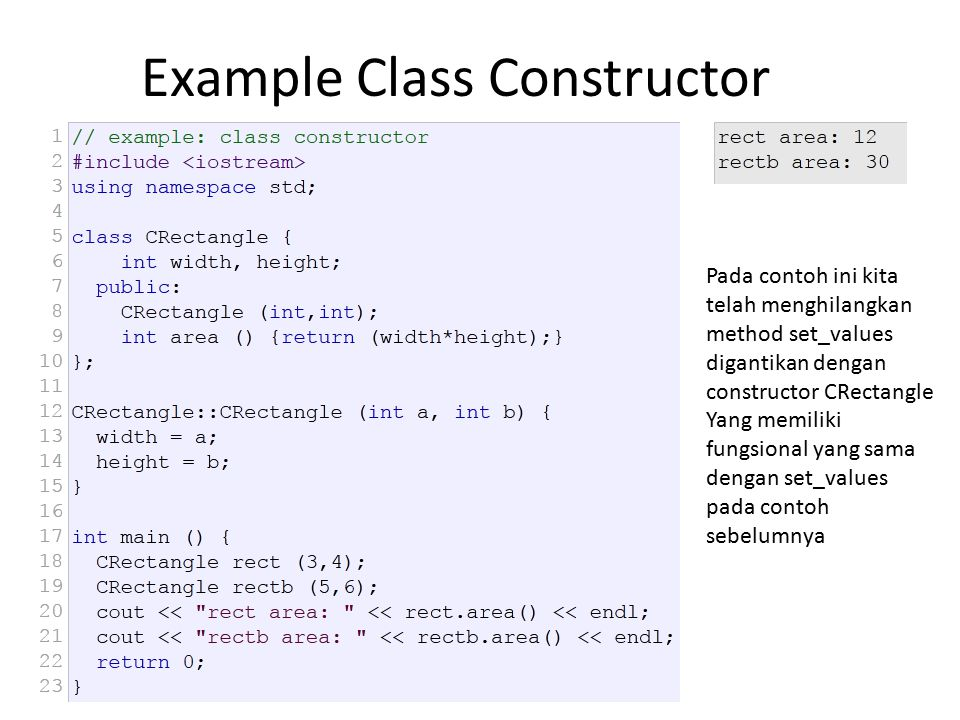 Example Class Constructor